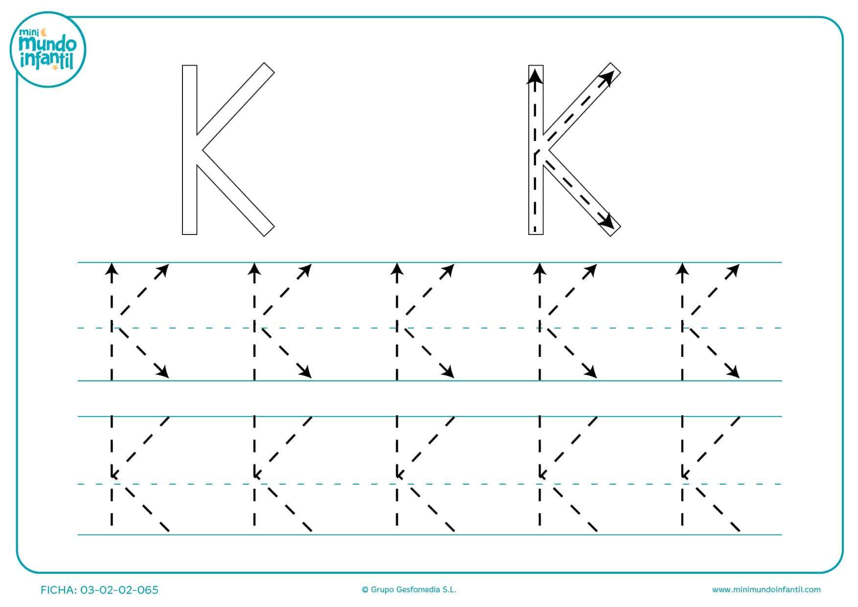 Seguir las líneas de la letra K para estudiarla