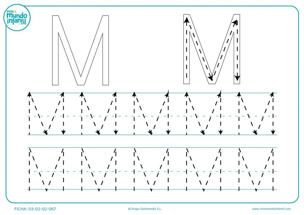 Repasar la letra M continuando el trazo de las líneas y flechas