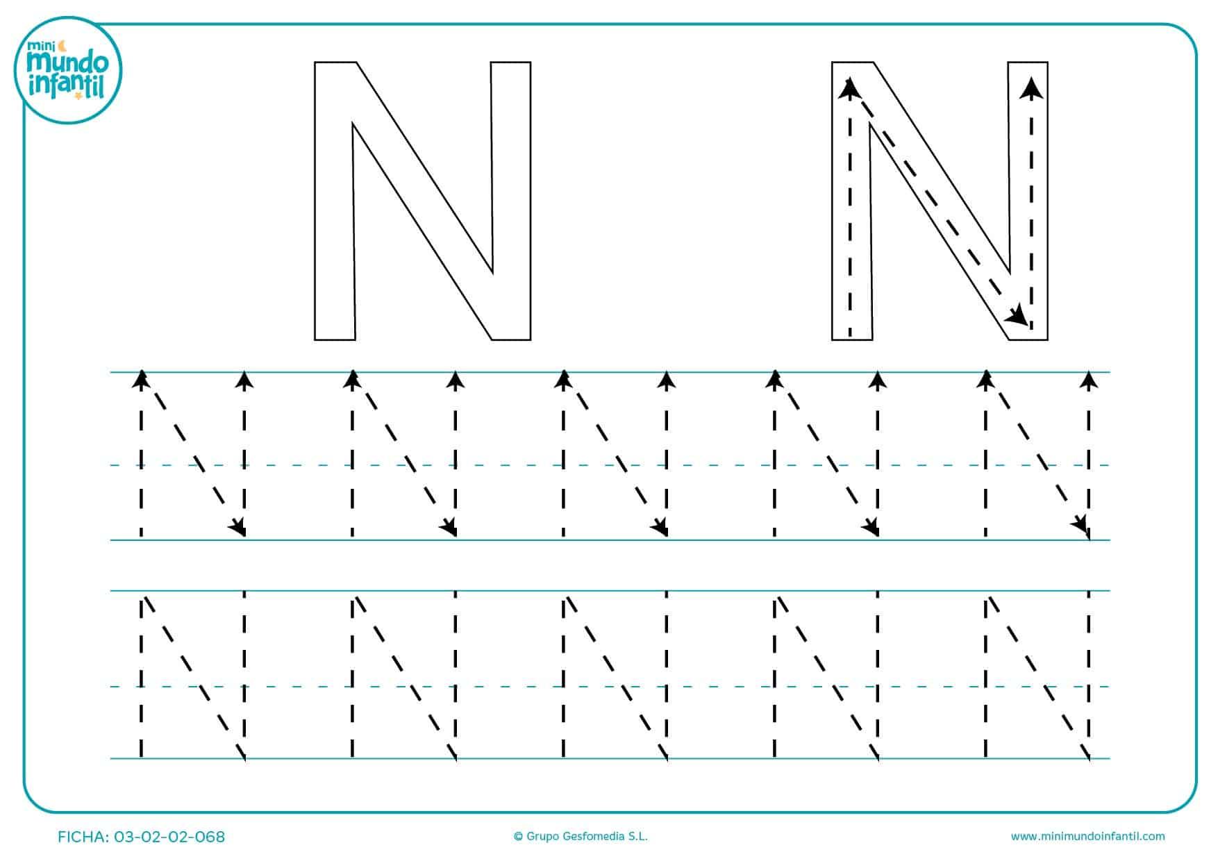 Estudiar la letra N continuando las líneas de puntos