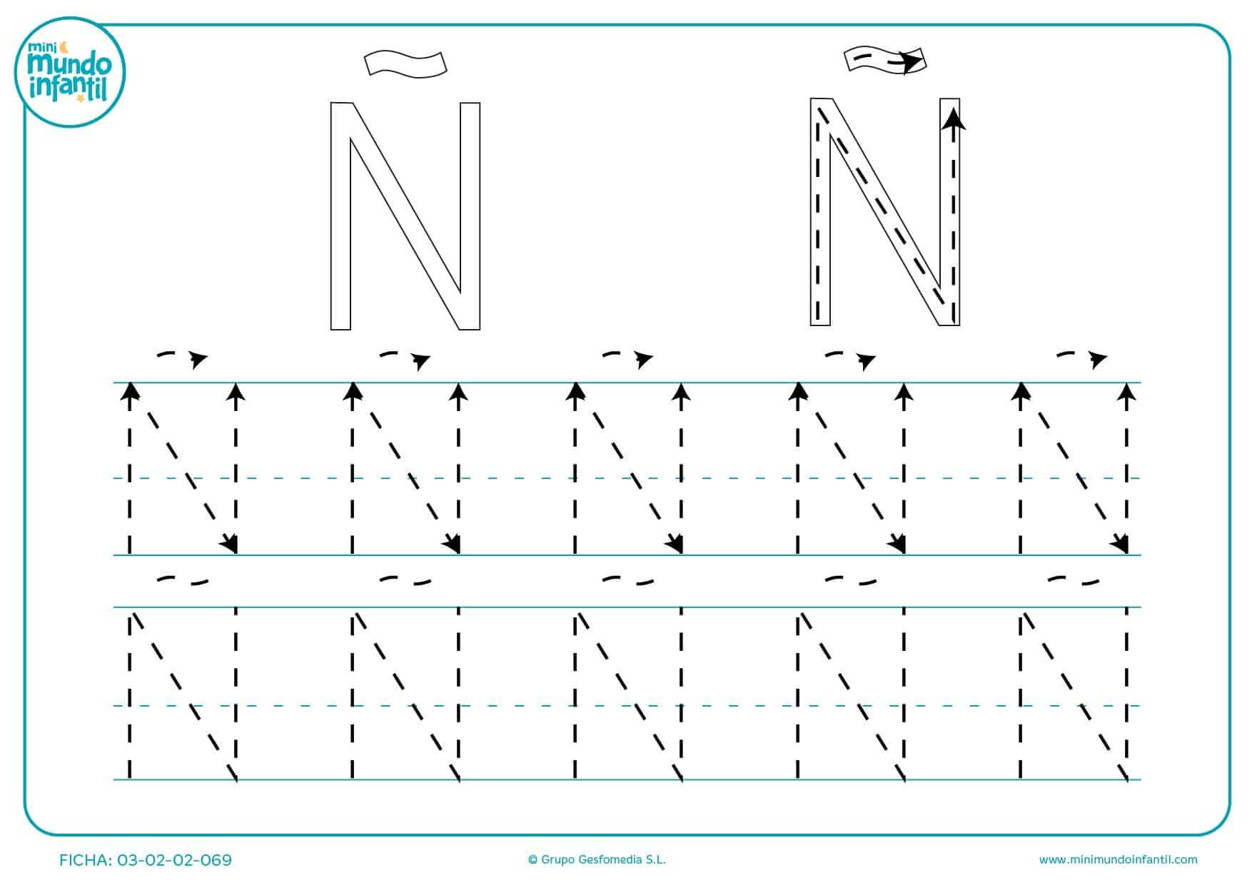 Aprender la letra Ñ repasando las líneas