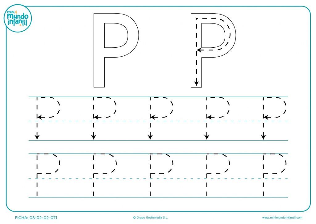Seguir las líneas de la letra P en mayúsculas