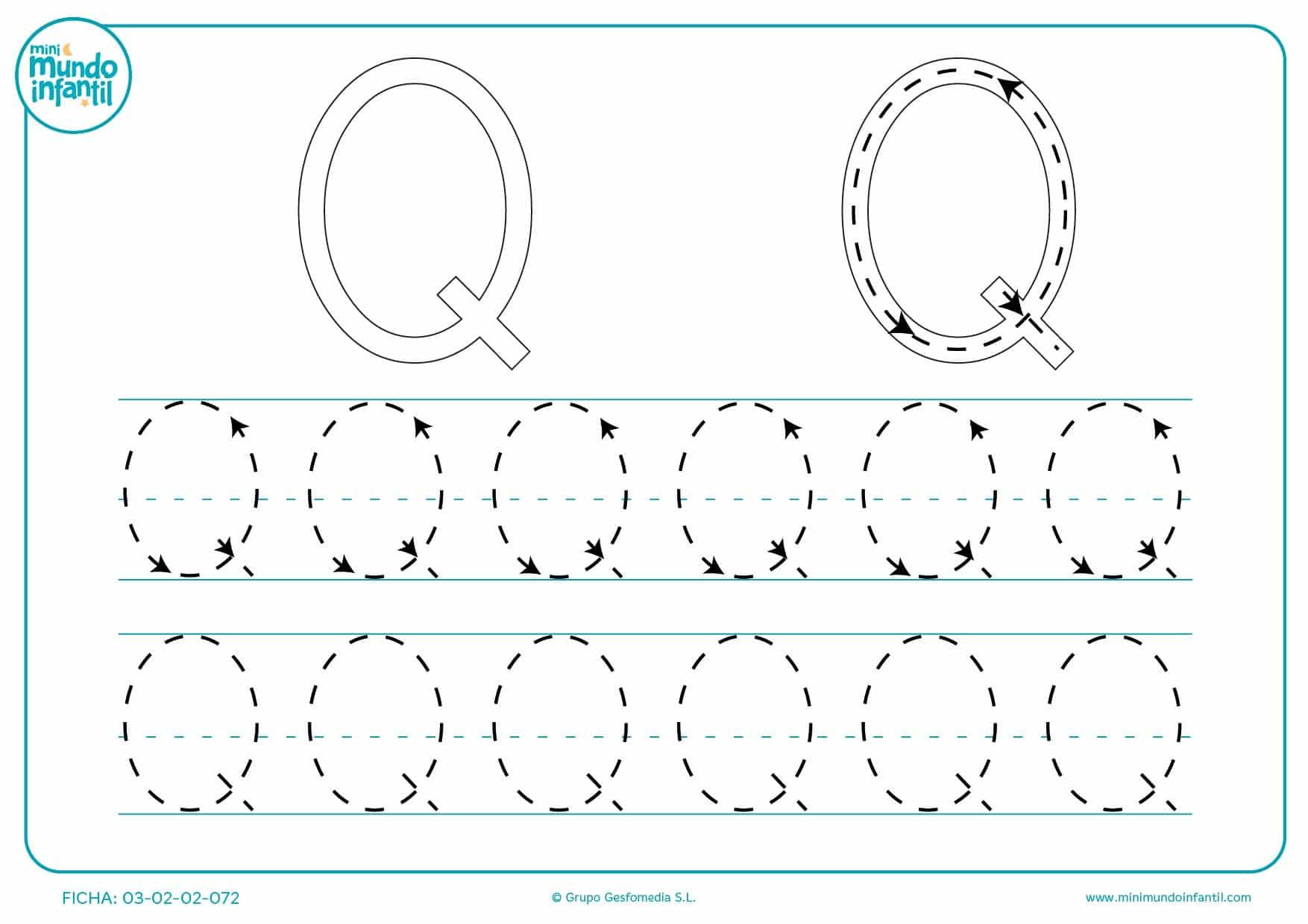 Completar el trazo de la letra Q en mayúsculas