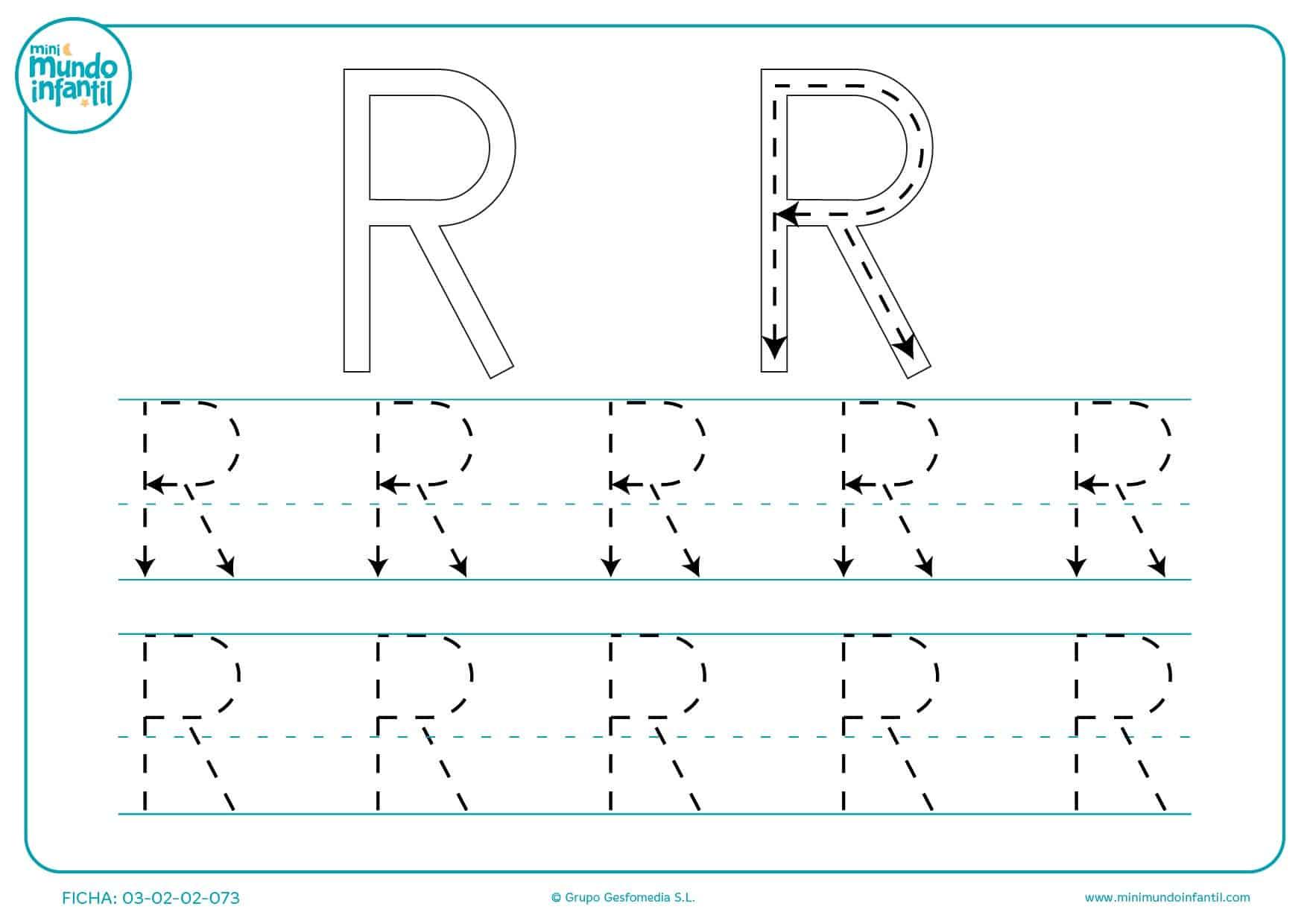 Repasar la letra R en mayúsculas
