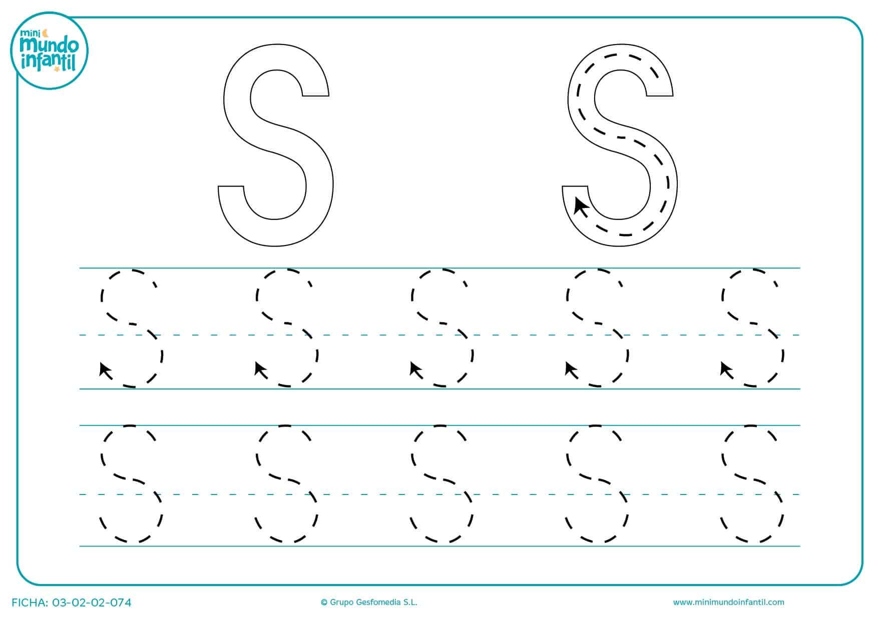 Seguir el trazo de la letra S en mayúsculas