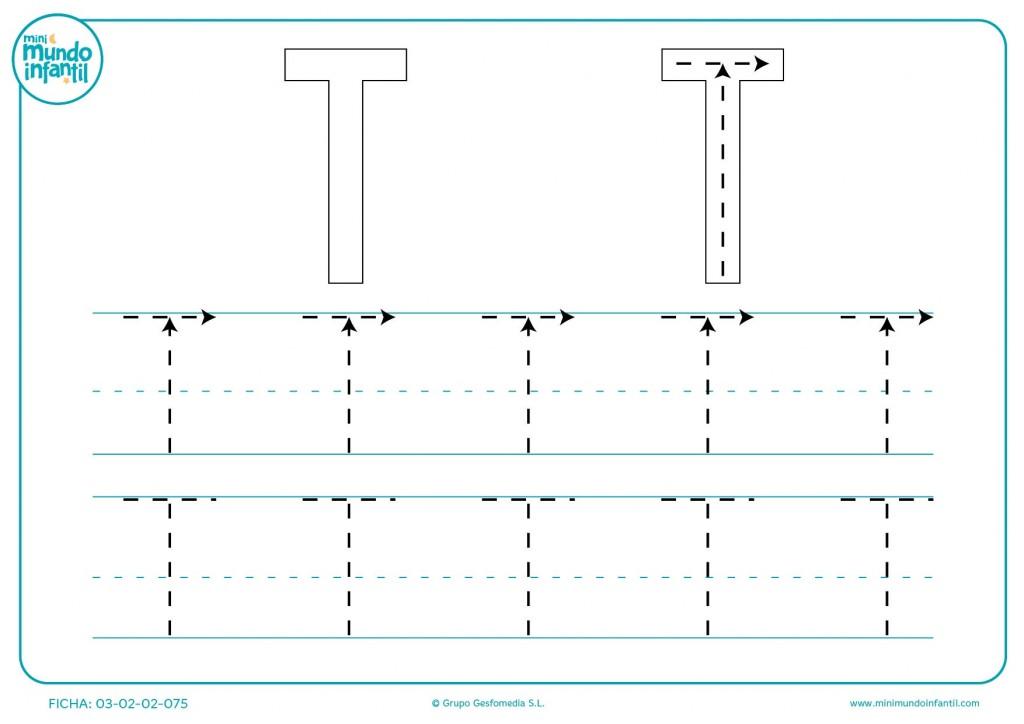Aprender siguiendo las líneas de la letra T en mayúsculas