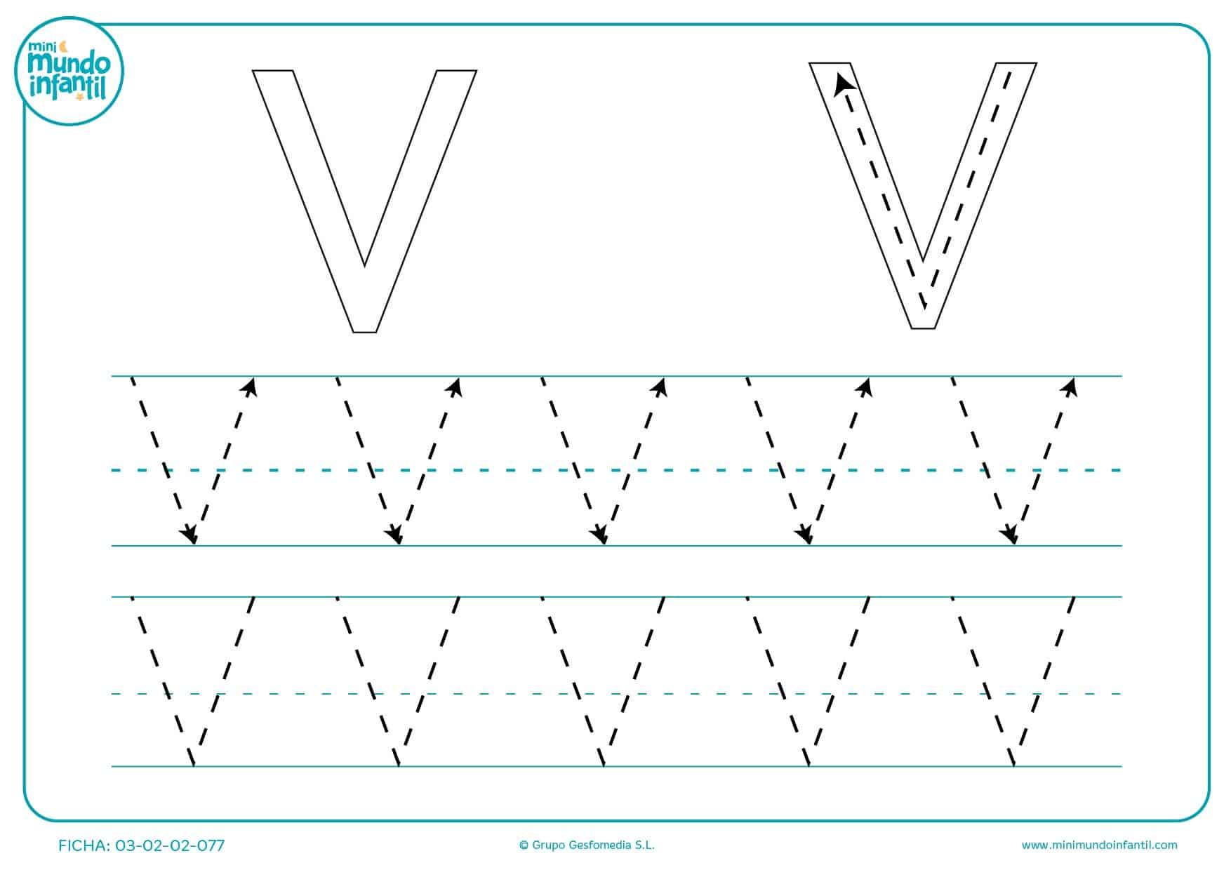 Completar las líneas de la letra V en mayúsculas