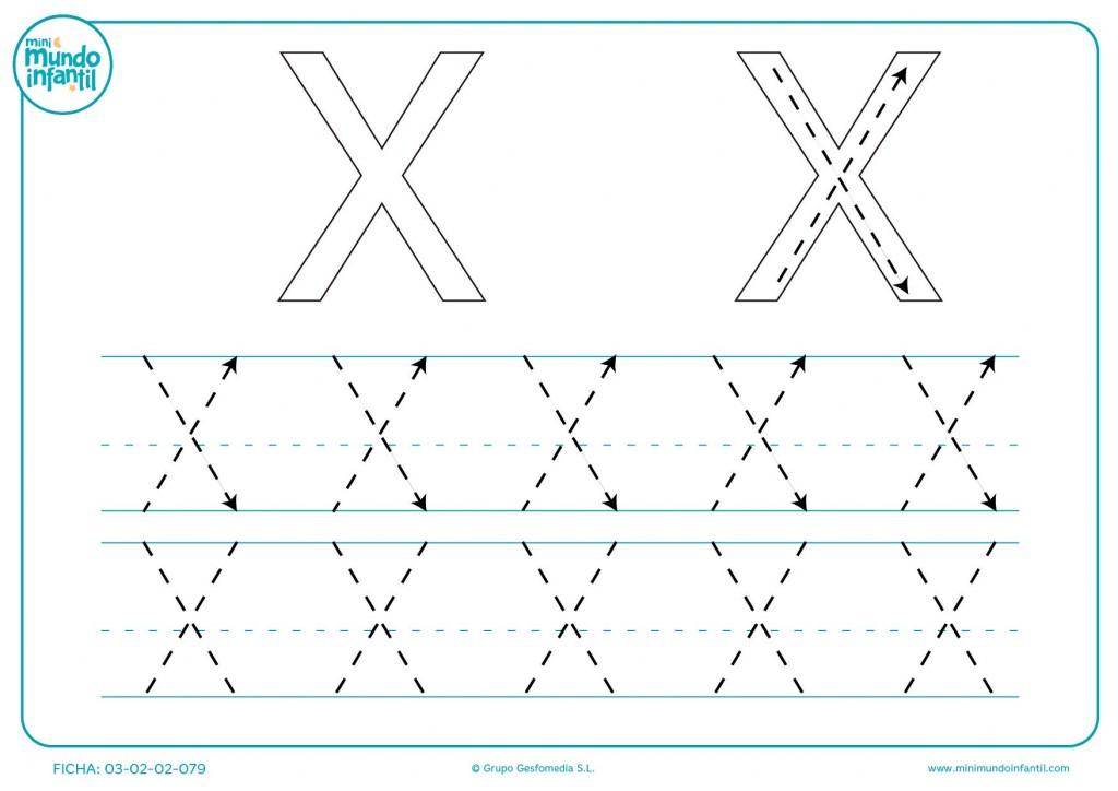 Seguir las líneas de la letra X en mayúsculas
