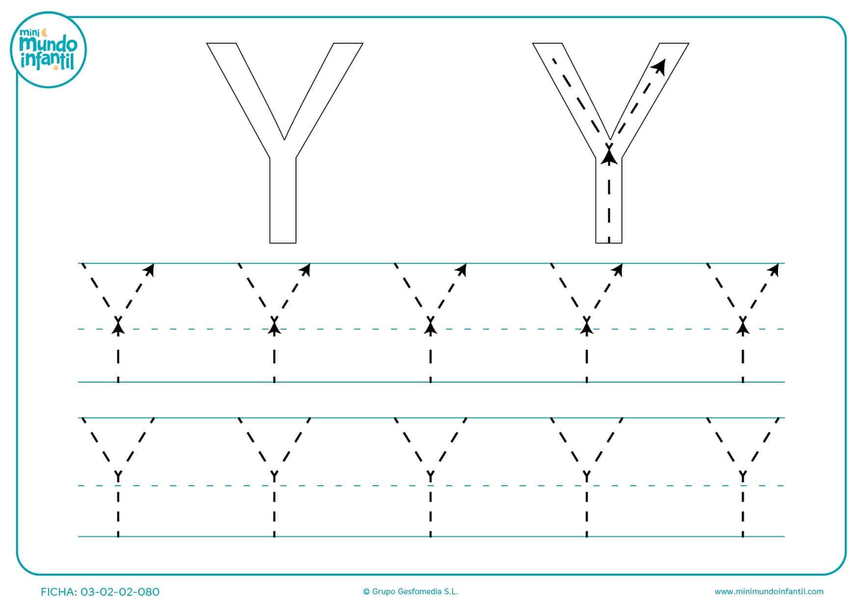 Aprender siguiendo el trazo de la letra Y en mayúsculas