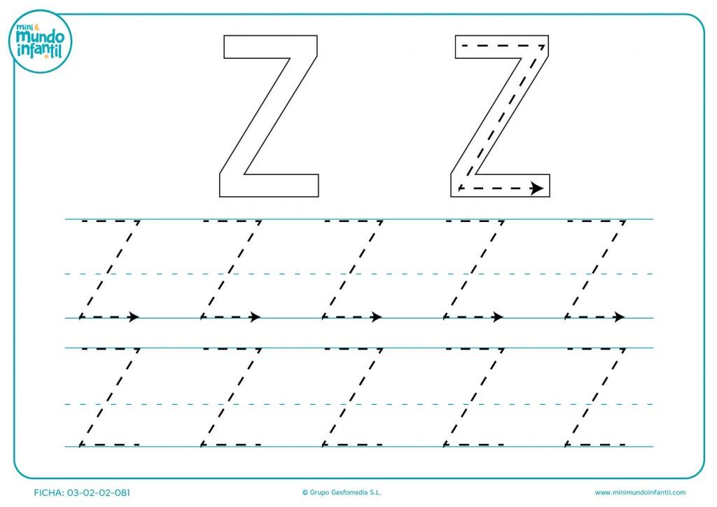 Completar el trazo de la letra Z en mayúsculas