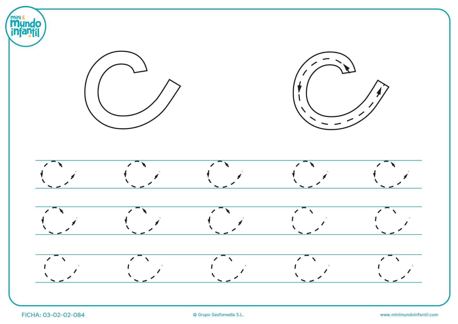 Estudiar la letra c en minúsculas siguiendo el trazo