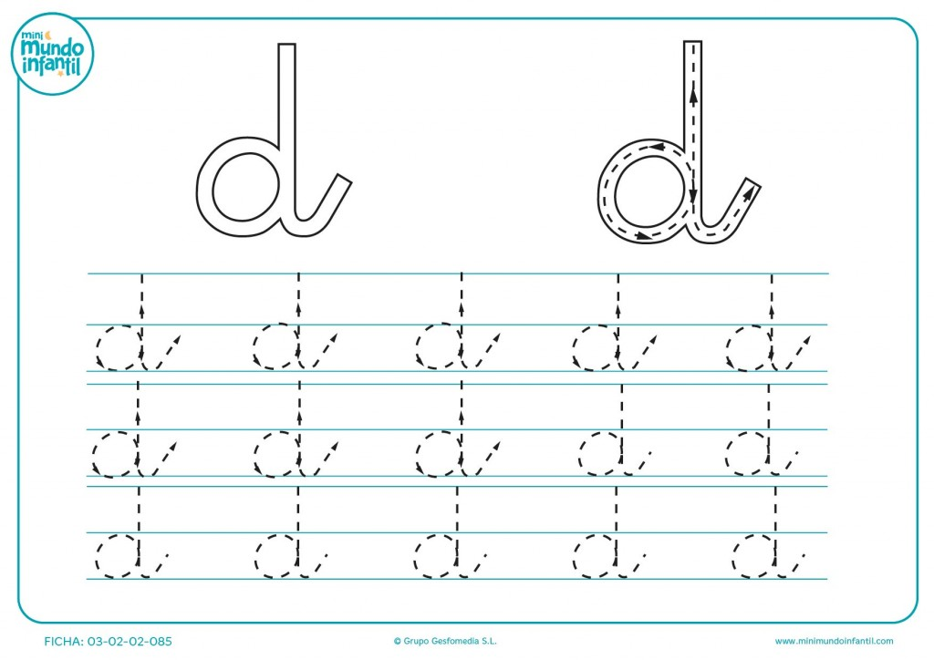 Aprender la letra d en minúsculas repasando los trazados