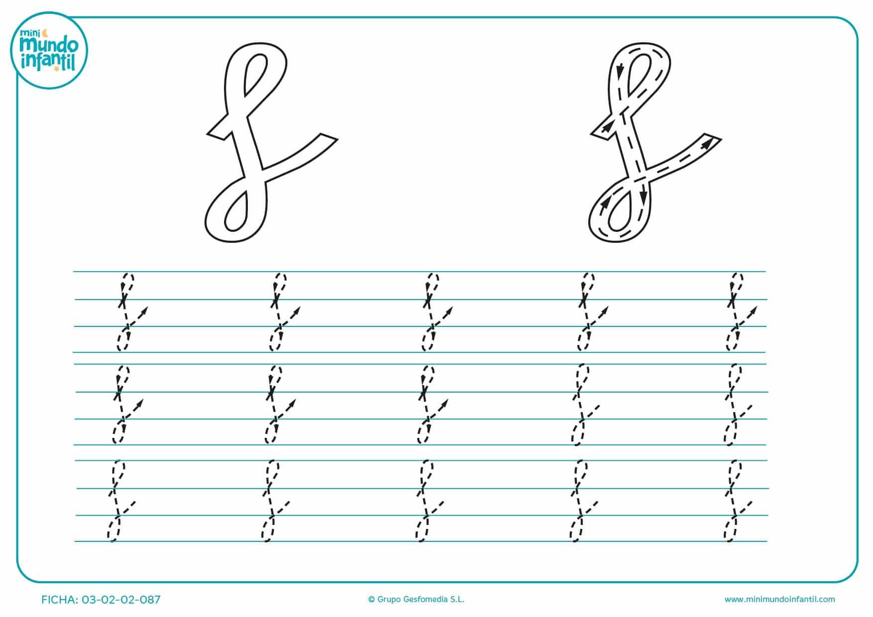 Seguir todos los trazados de la letra f en minúsculas
