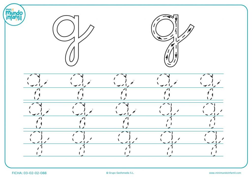 Repasar las líneas de la letra g en minúsculas