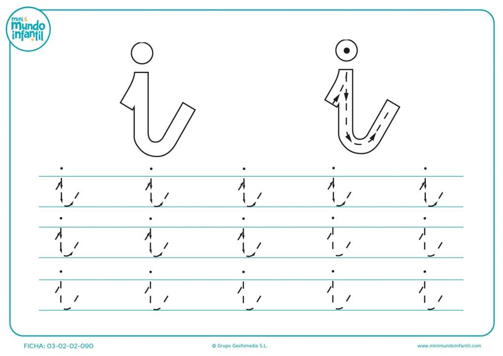 Estudiar la letra i en minúsculas completando su trazado