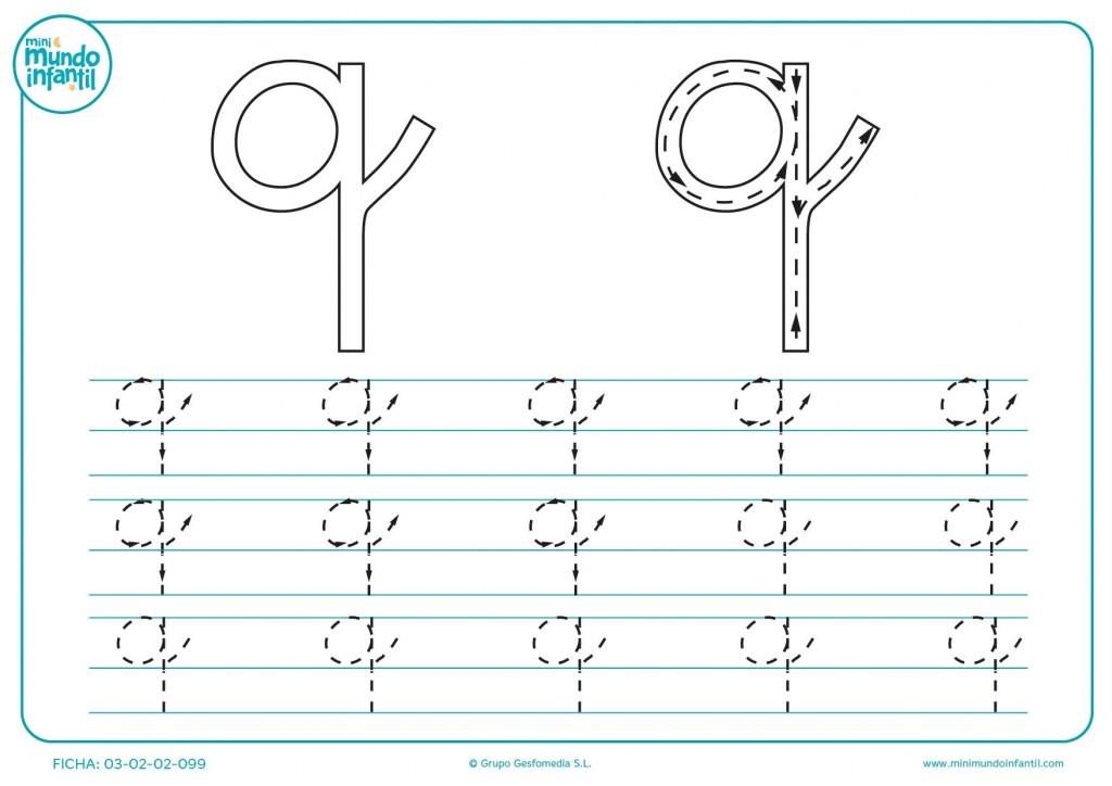 Completar el trazo de la letra q en minúsculas