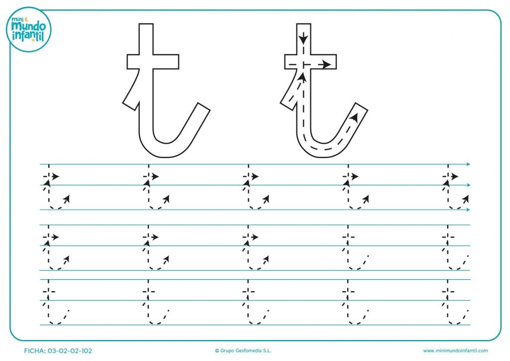 Aprender siguiendo las líneas de la letra t en minúsculas