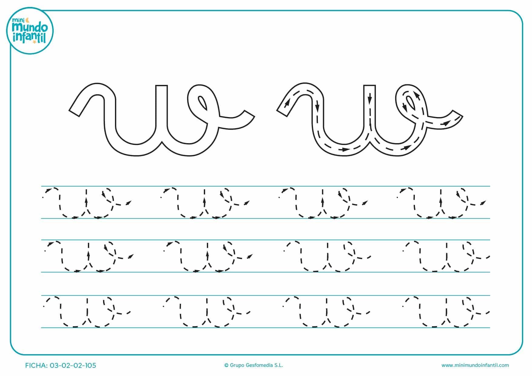 Repasar con lápiz la letra w en minúsculas