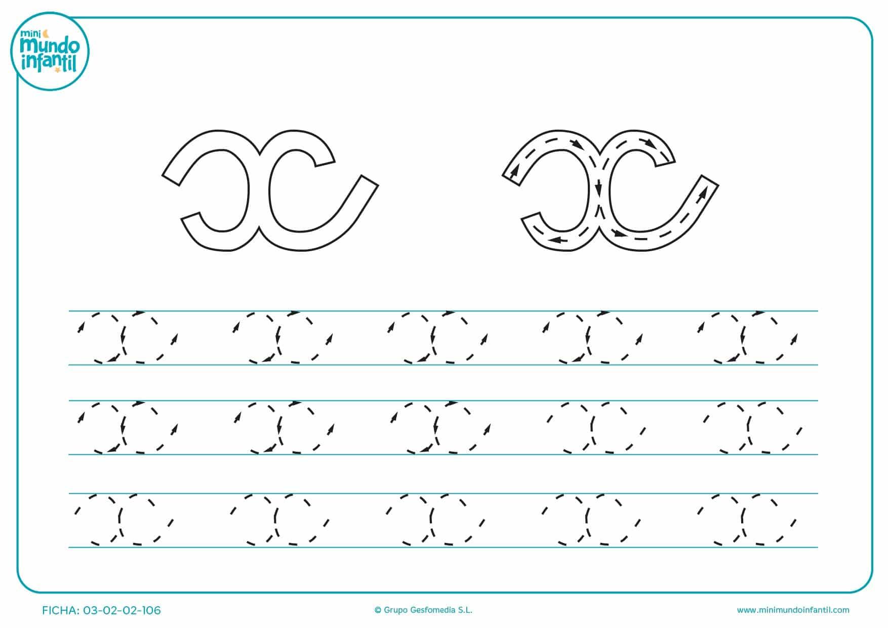 Seguir las líneas de la letra x en minúsculas