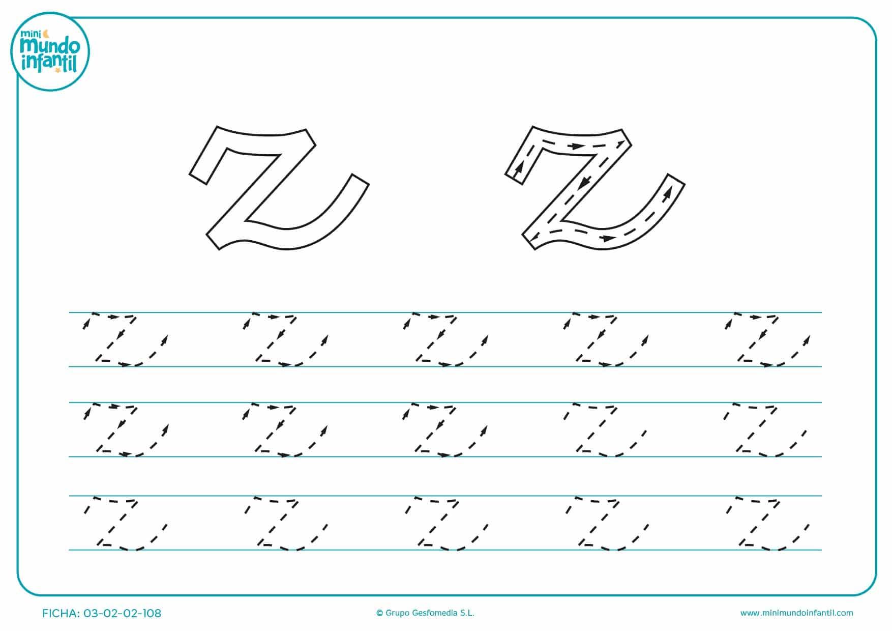 Completar el trazo de la letra z en minúsculas