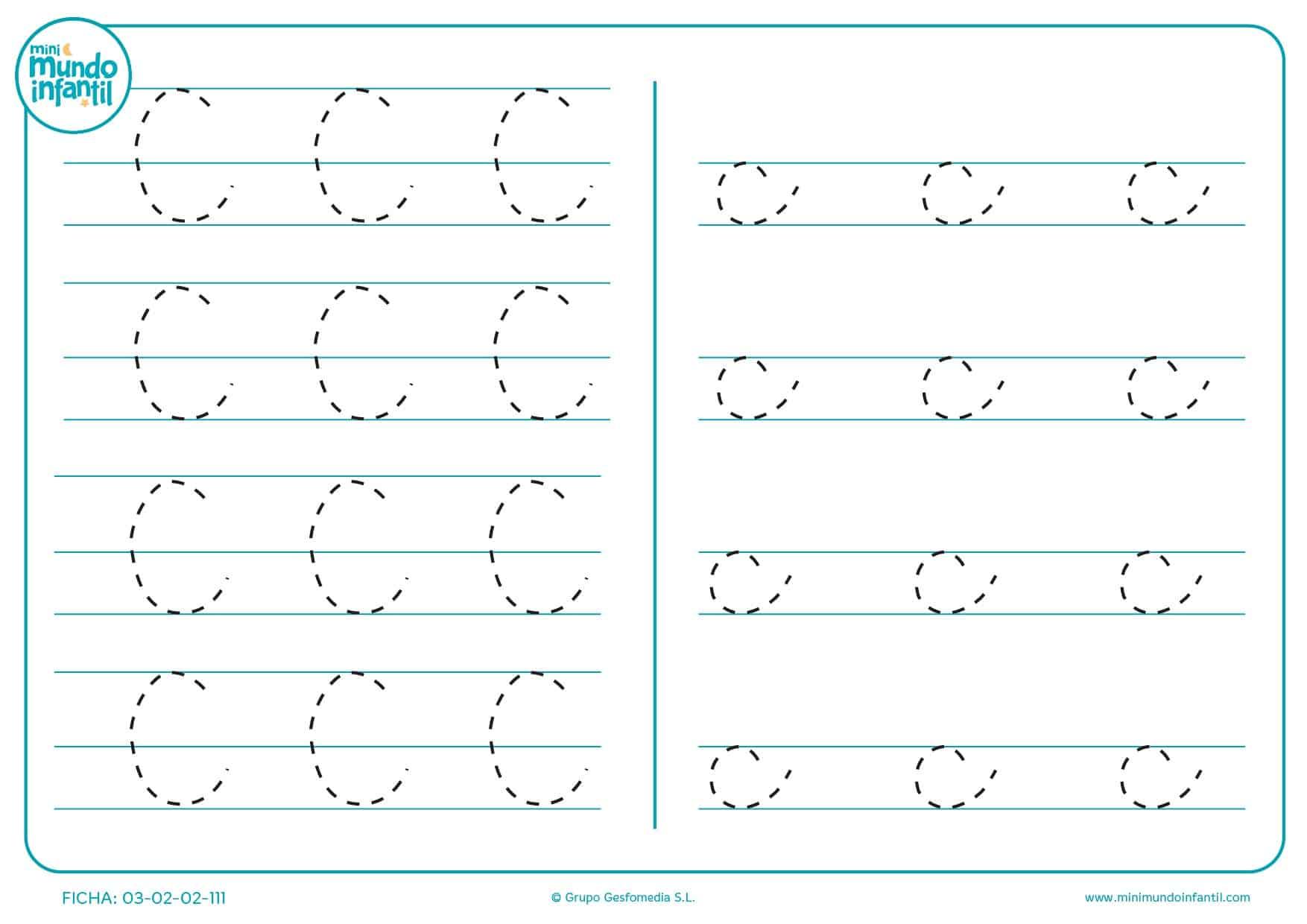Seguir la línea de la letra C en mayúscula y c en minúscula