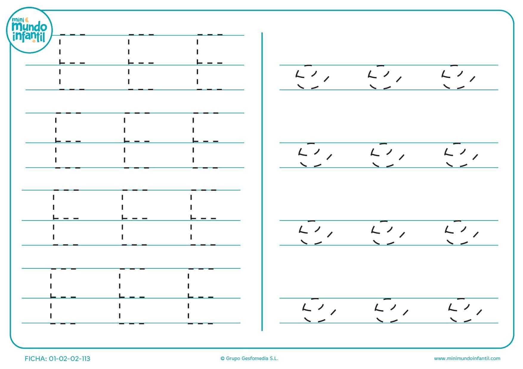 Completar las líneas de la letra E en mayúscula y e en minúscula