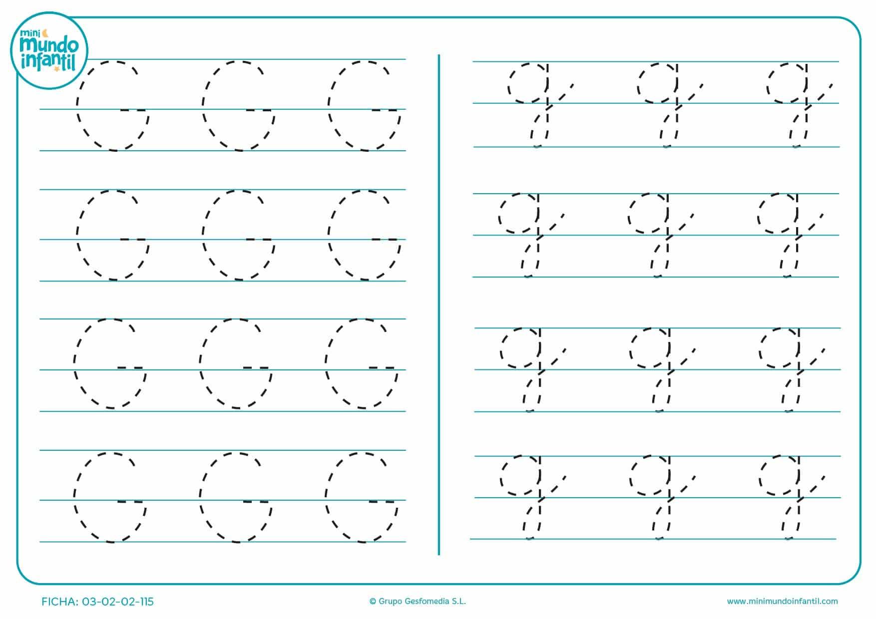 Escribir el trazo de la letra G en mayúscula y la letra g en minúscula