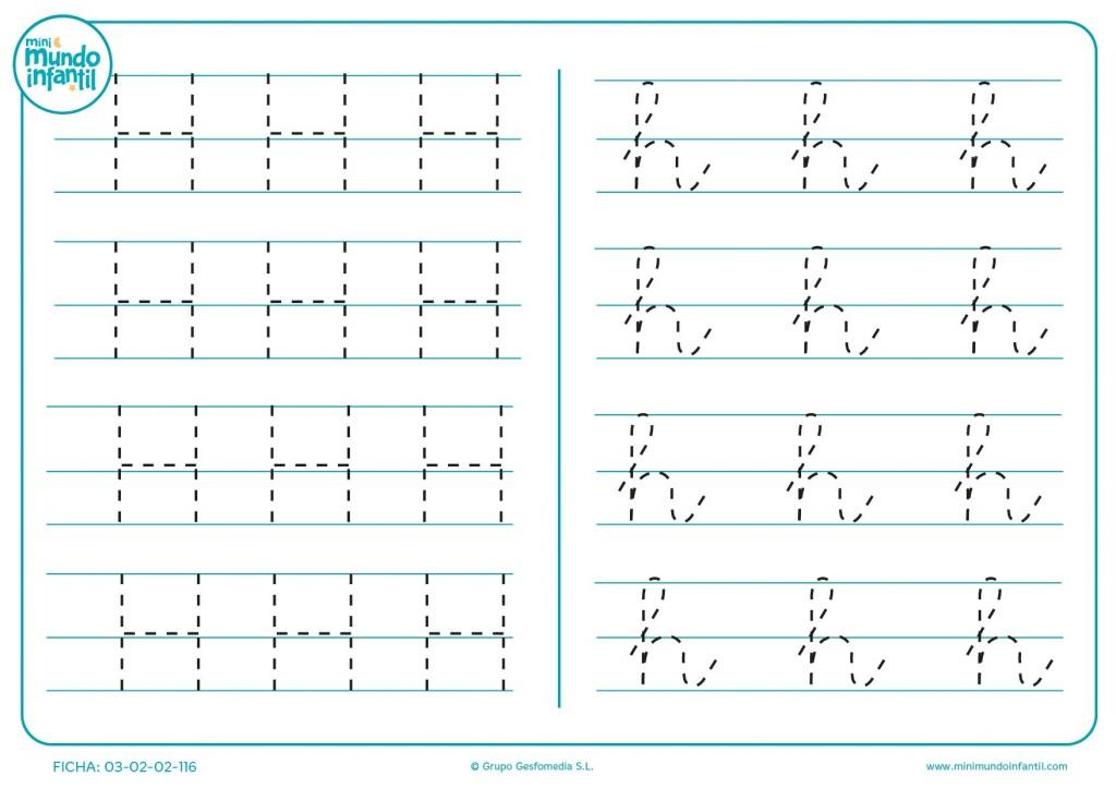 Escribir las líneas de la letra H en mayúscula y h en minúscula