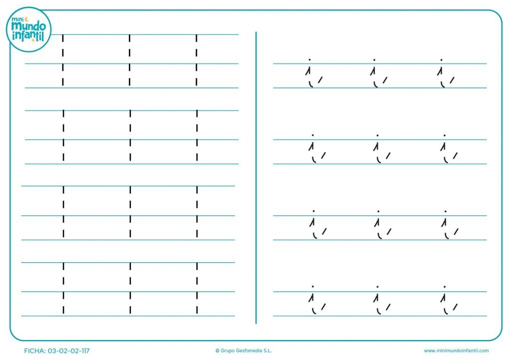 Repasar las líneas de la letra I en mayúscula e i en minúscula