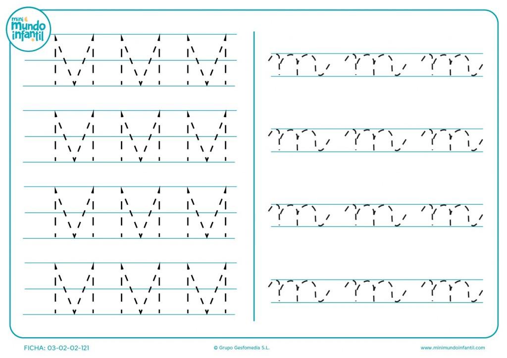 Completar grafomotricidad de la letra M en mayúscula y m en minúscula