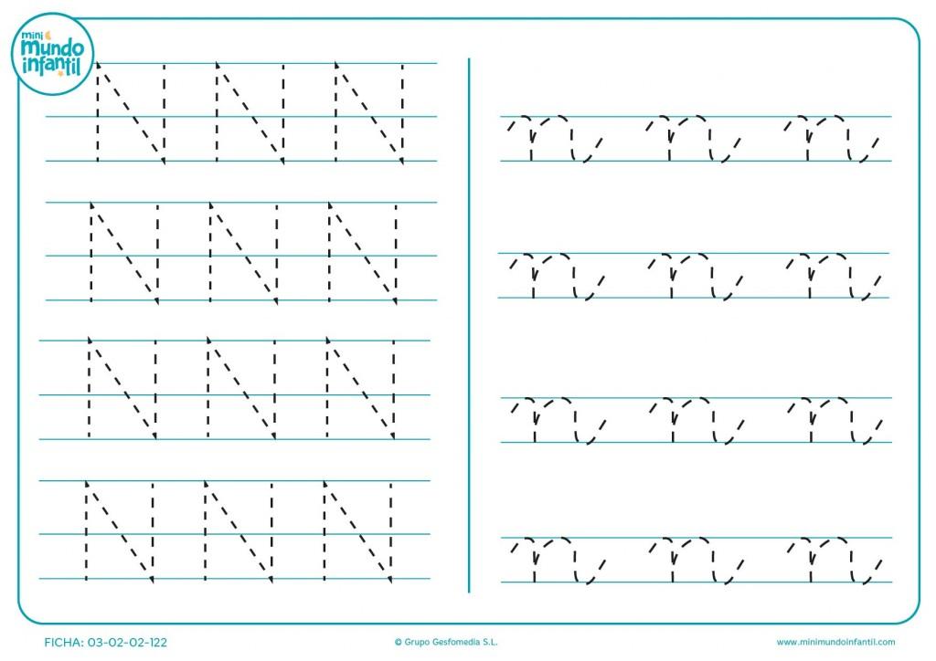 Repasar grafomotricidad de la letra N en mayúscula y n en minúscula