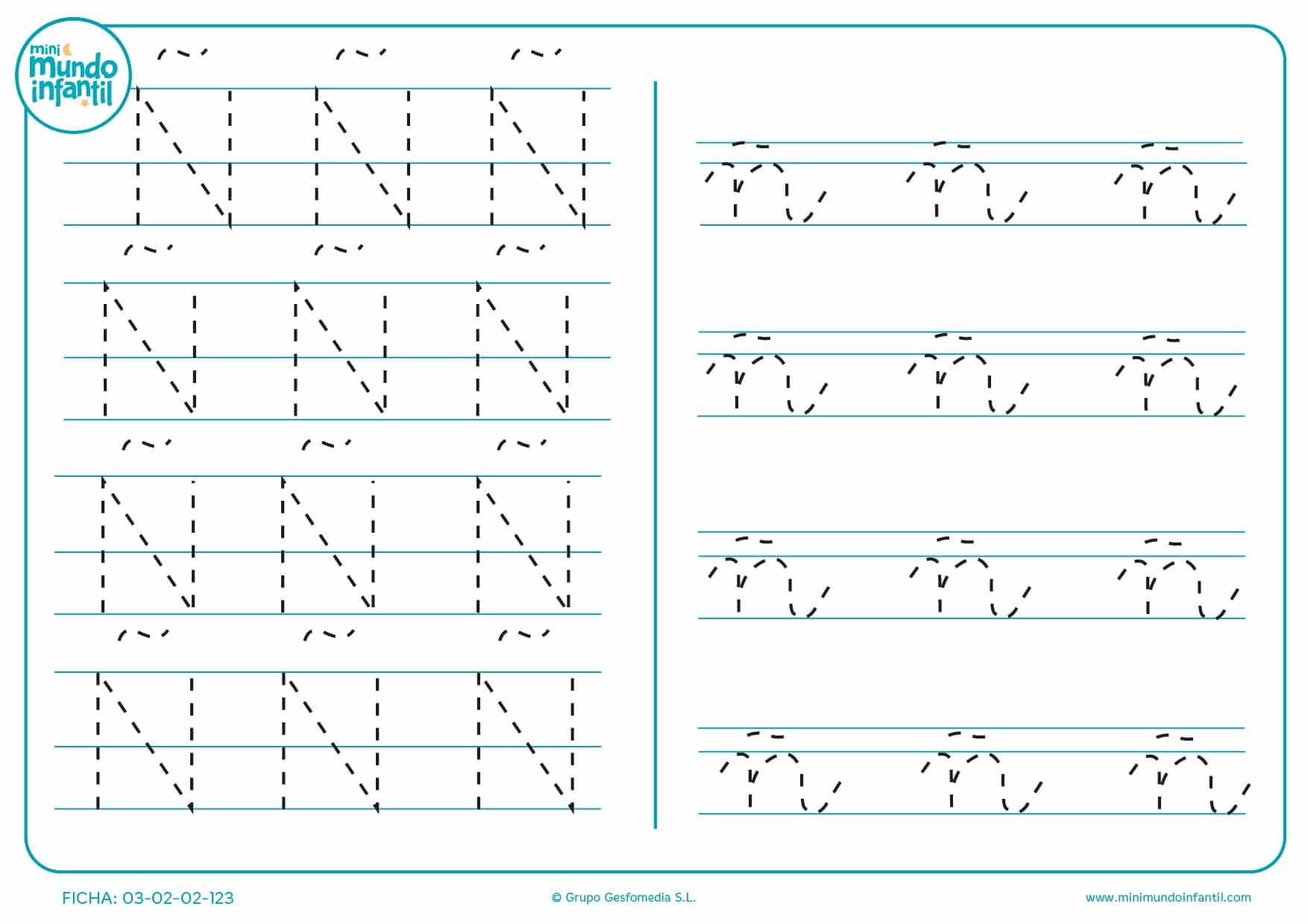 Seguir líneas discontínuas de la letrs Ñ en mayúscula y ñ en minúscula