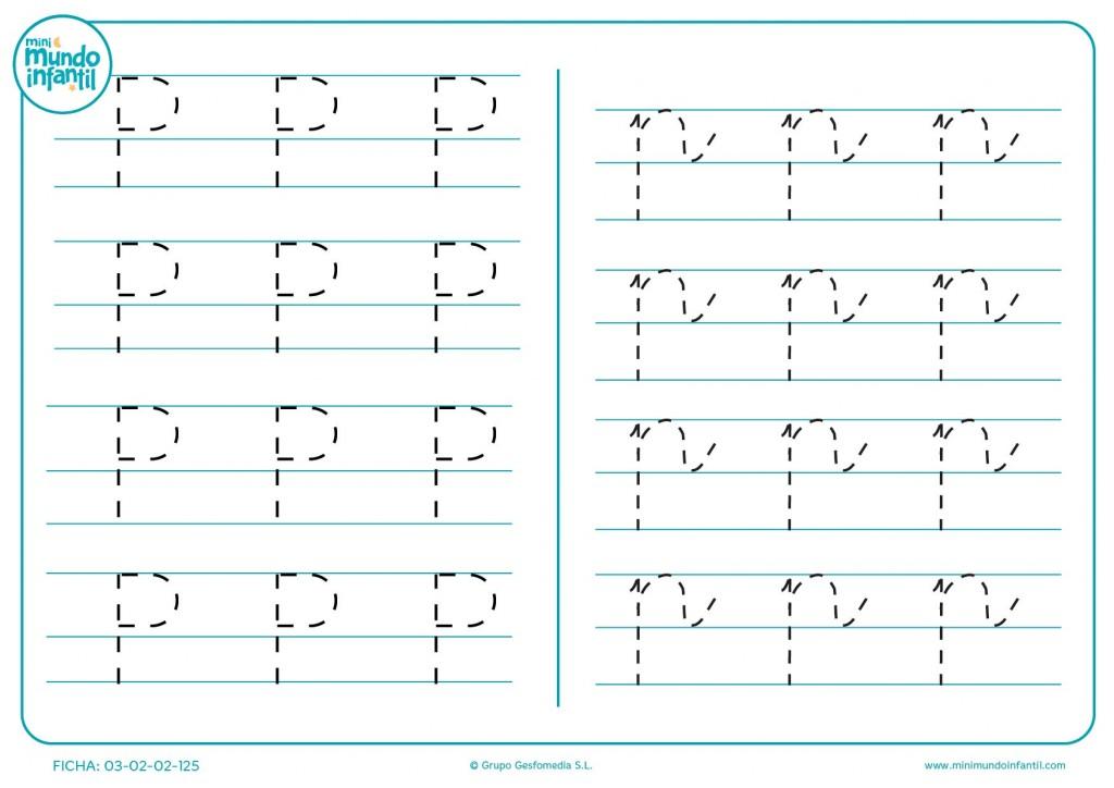Letra P en mayúscula y p en minúscula para seguir sus líneas