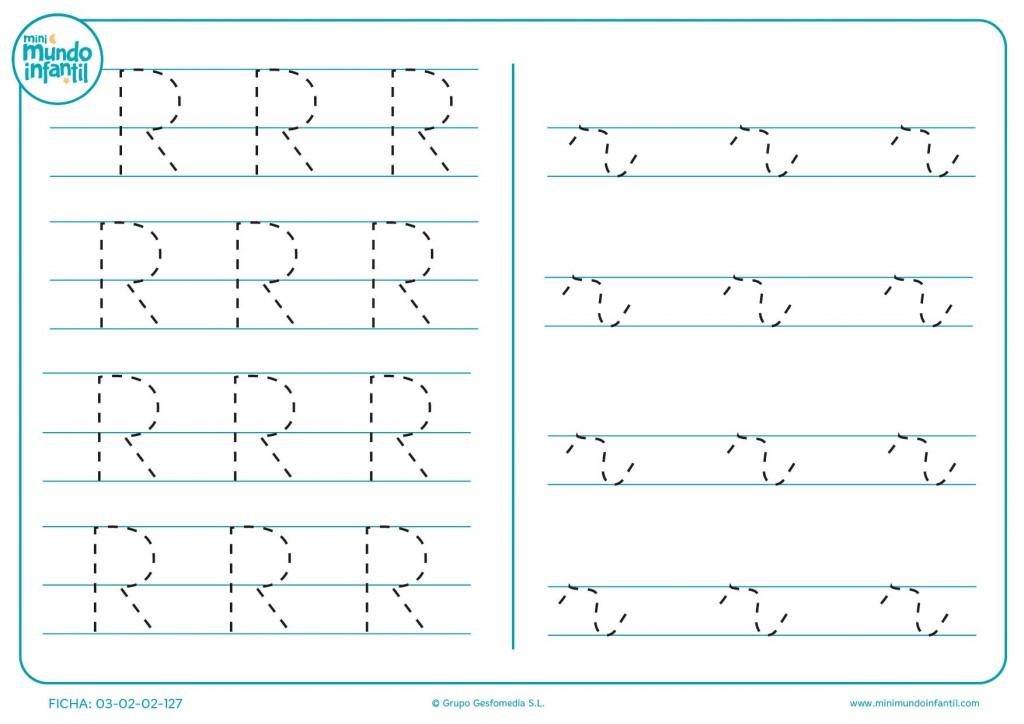 Letra R en mayúscula y r en minúscula para completar sus líneas