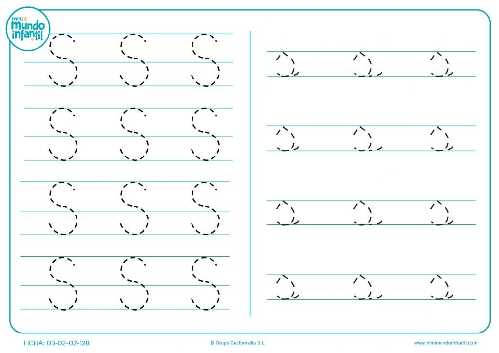 Letra S en mayúscula y s en minúscula para aprender su grafomotricidad
