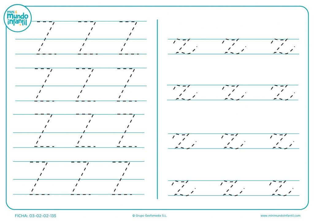Letra Z en mayúscula y z en minúscula para aprenderr a escribir
