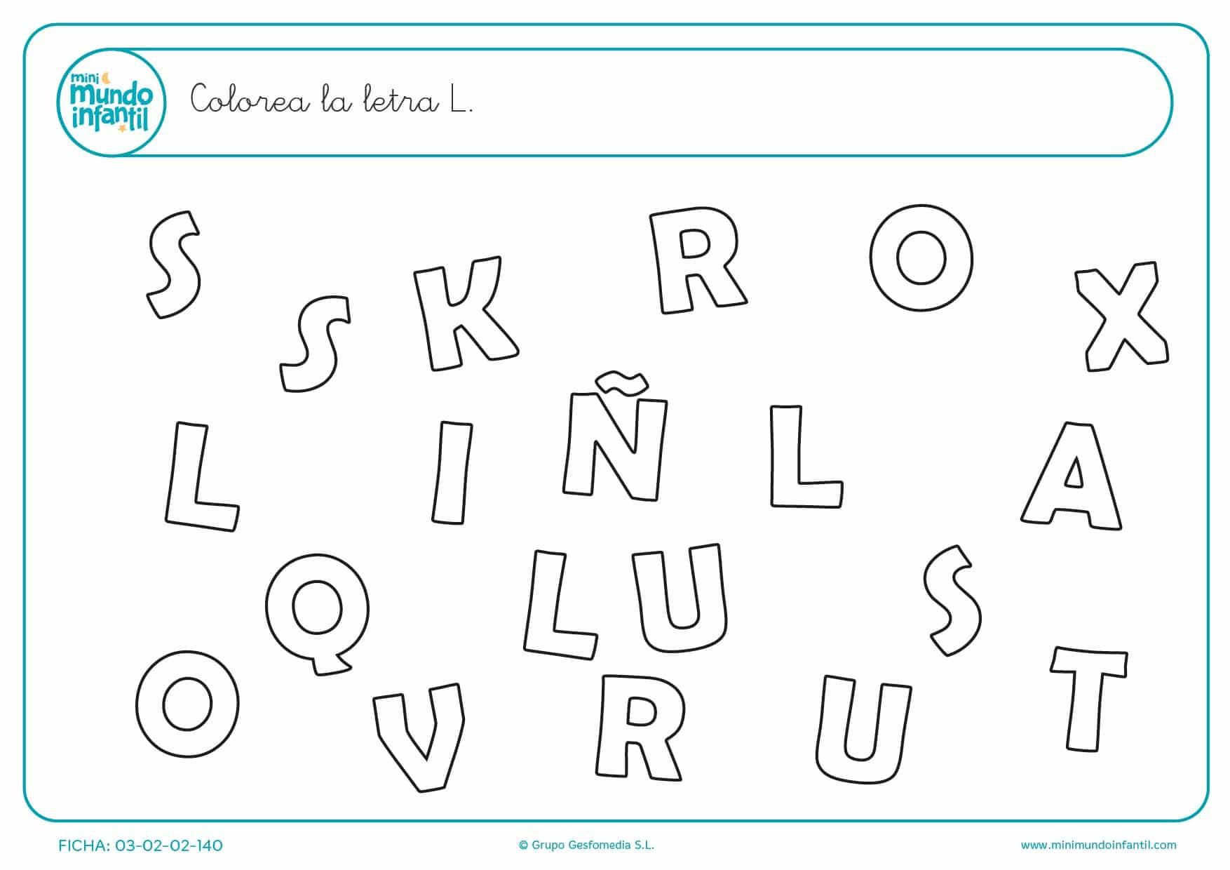 Buscar y colorear la letra L en mayúsculas