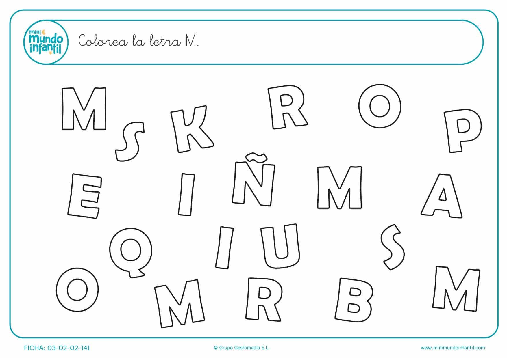Buscar y pintar la letra M en mayúsculas