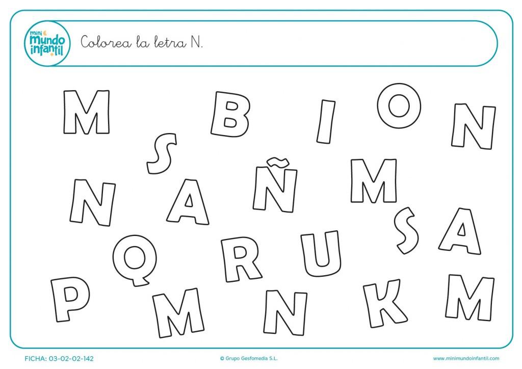Buscar y rellenar con color la letra N en mayúsculas