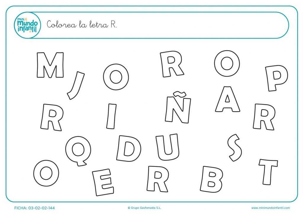 Encontrar y colorear la letra R en mayúsculas
