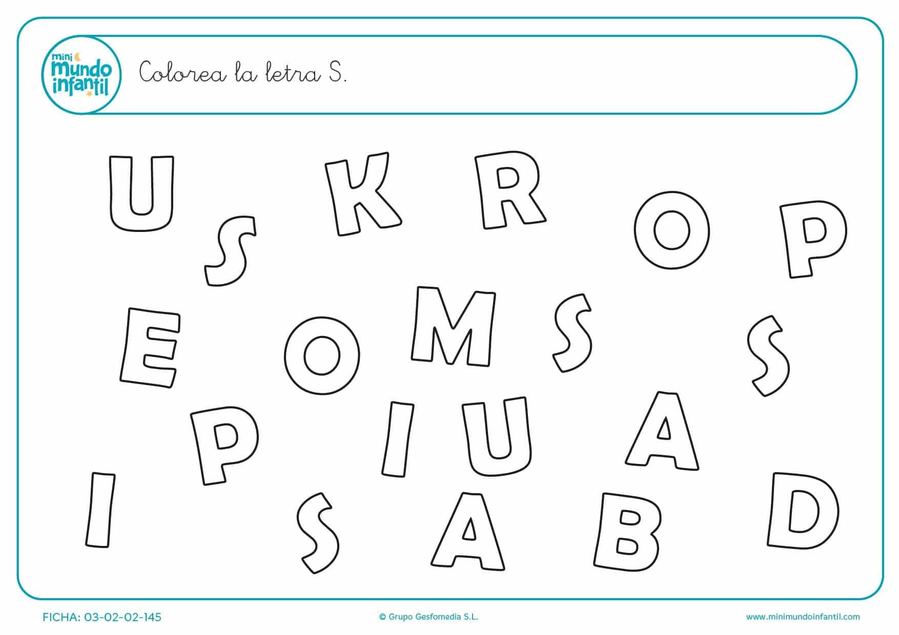 Econtrar y pintar la letra S en mayúsculas