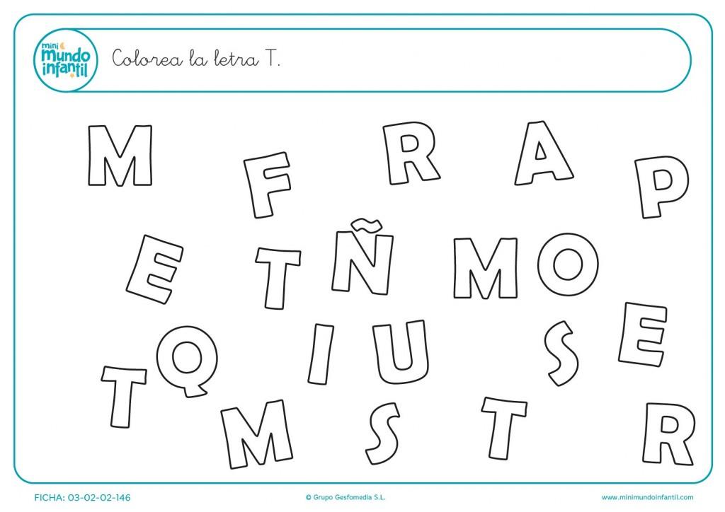 Encontrar y rellenar con color la letra T en mayúscula