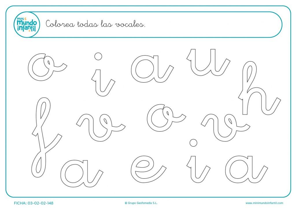Ficha para colorear todas las vocales en minúsculas