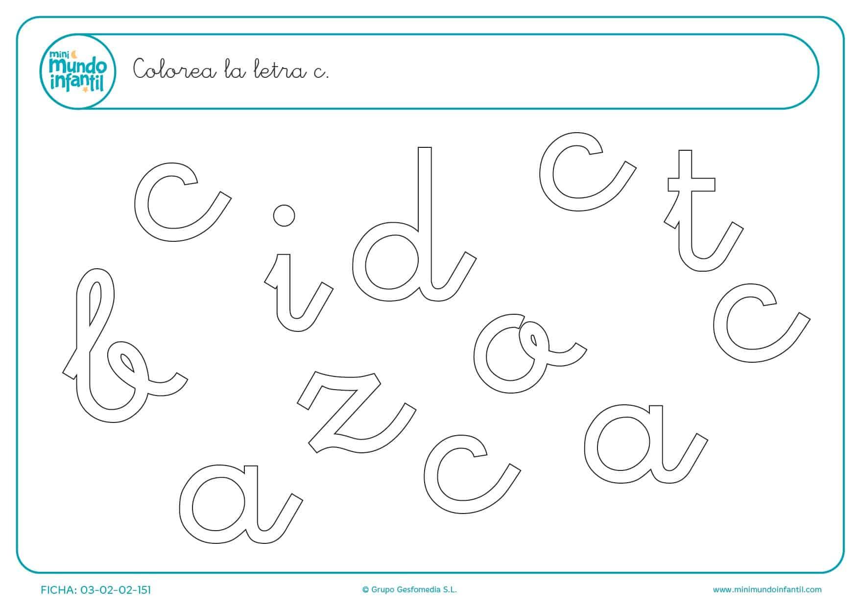 Buscar y colorear la letra C en minúsculas