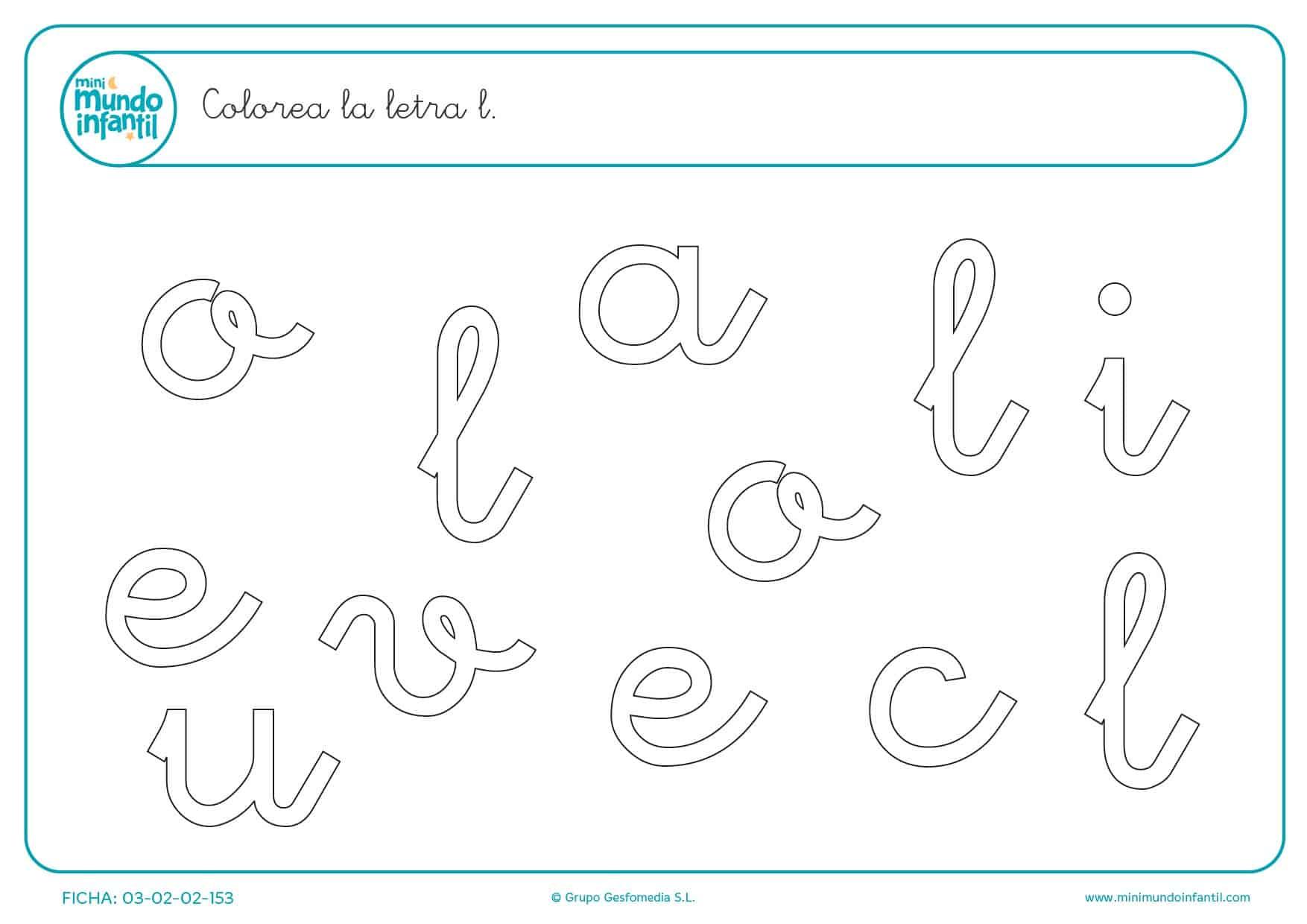 Buscar y rellenar con color la letra L en minúsculas