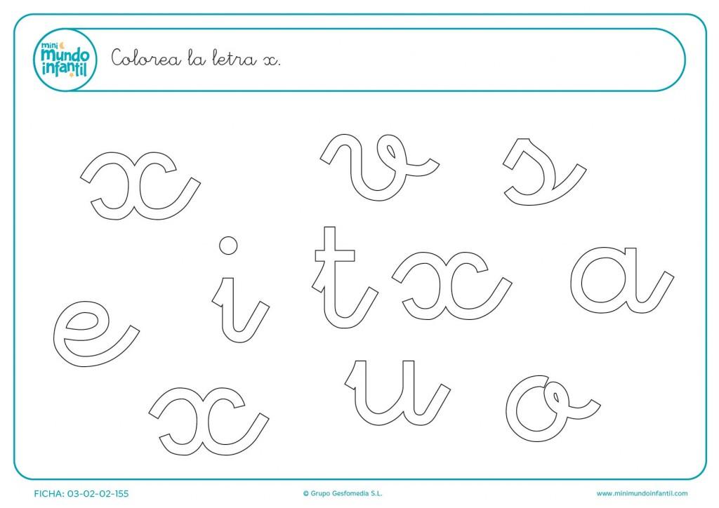 Encontrar y colorear la letra x en minúsculas