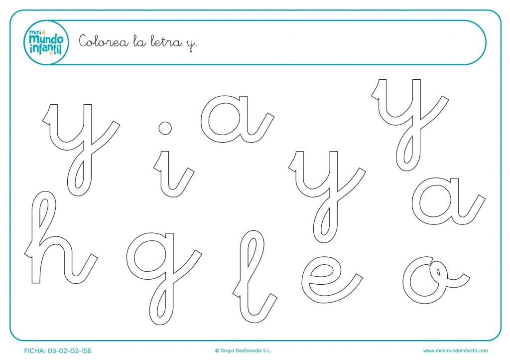 Econtrar y pintar la letra y en minúsculas