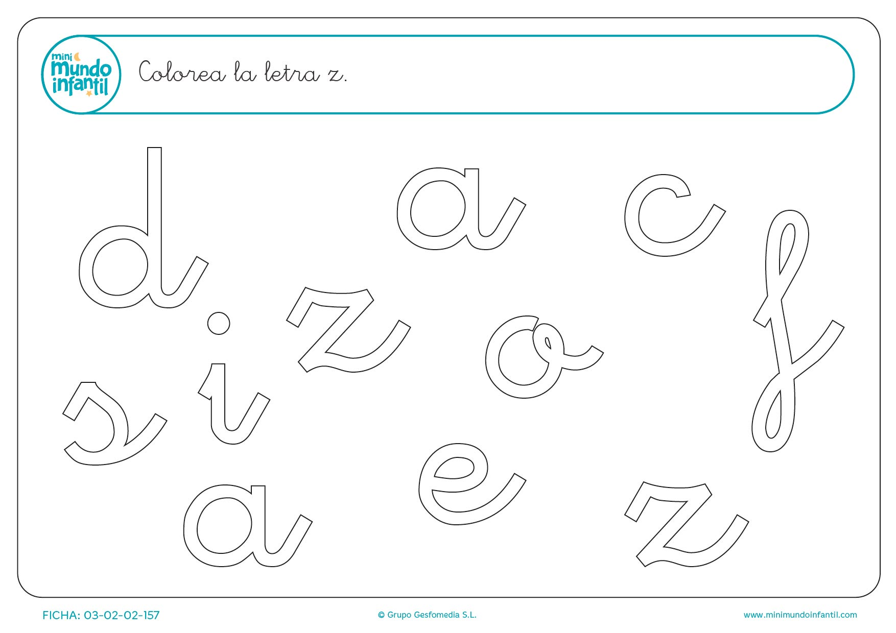Encontrar y rellenar con color la letra z en minúsculas