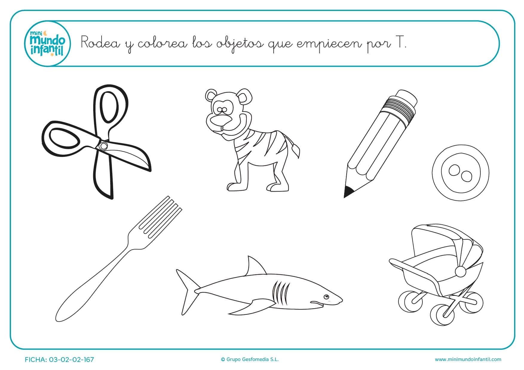 Dibujos Para Colorear Letra Q: Para Colorear Objetos Que Inicien Con La Letra T