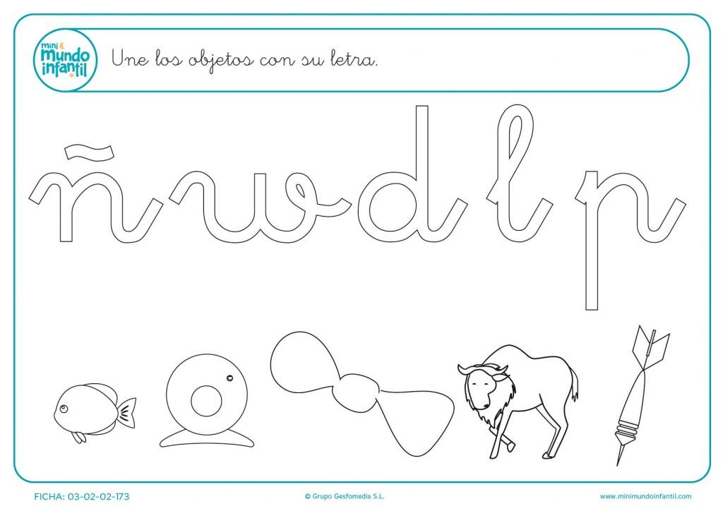 Unir la letra por la que empieza cada objeto con el dibujo