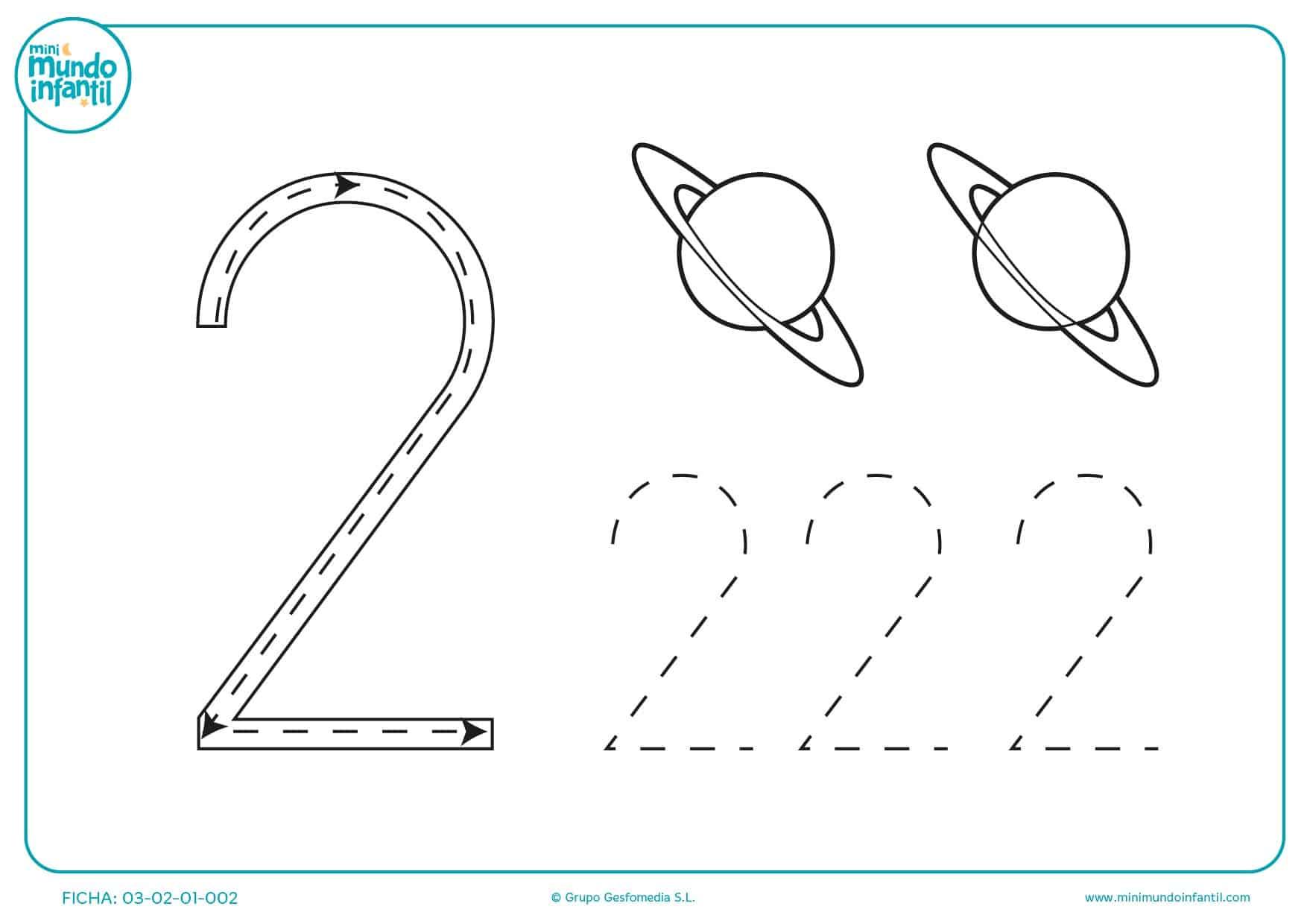 Juega y observa los planetas y los números 2 en diferentes formas